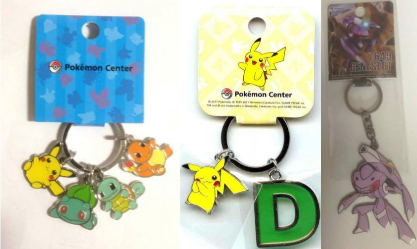 pokemon center keychains metal and plastic