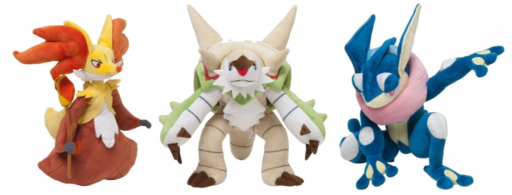 Limited Edition Pokemon Plushies: Meowstic (male and female versions), Delphox, and (just in time to celebrate his addition to the latest Super Smash Brothers Wii U video game) Greninja