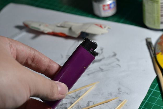 The Gunpla Weathering: Materials for the Burning Toothpick Technique Lighter