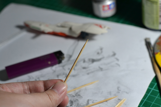 The Gunpla Weathering: Materials for the Burning Toothpick Technique Toothpicks