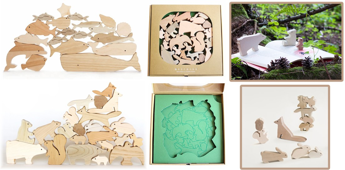 Forest Animal & Marine Life Stacking Woodblocks
