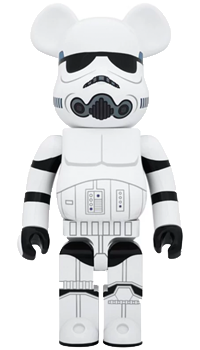 Bearbrick Star Wars Stormtrooper Chrome 100% and 400%