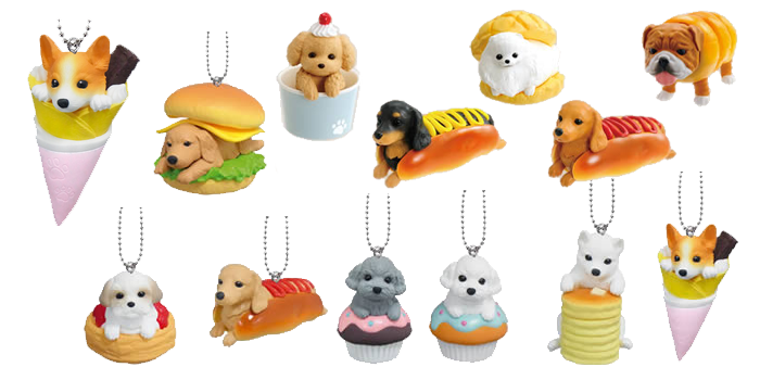 Bandai Gashapon Inupan Dog Bread figurines