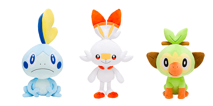Pokemon Sword and Shield Starter Plushies - Grookey, Scorbunny, and Sobble