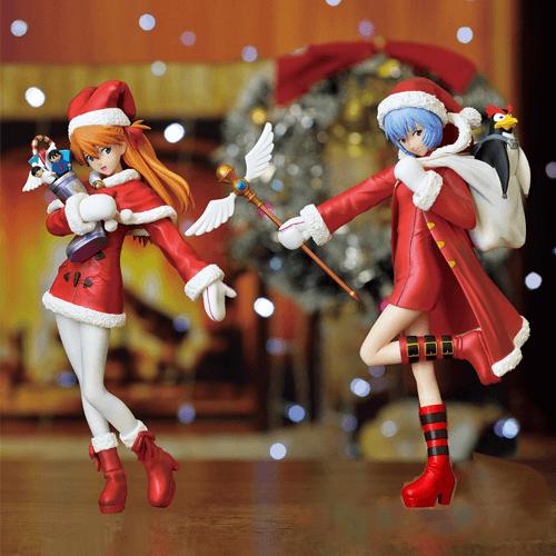 Neon Genesis Evangelion Rei Ayanami and Asuka Christmas Figures