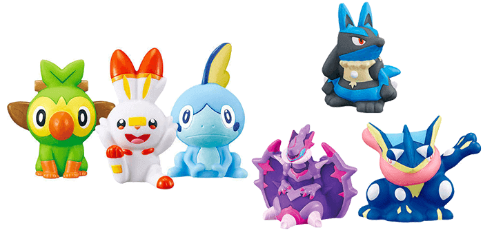 Pokemon Kids Sword and Shield Mini Figures - Grookey, Scorbunny, and Sobble