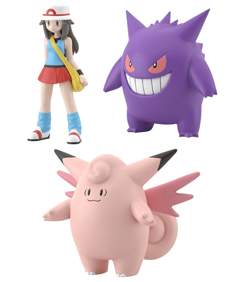 Pokemon Scale World Kanto Region Leaf, Clefable and Gengar Set