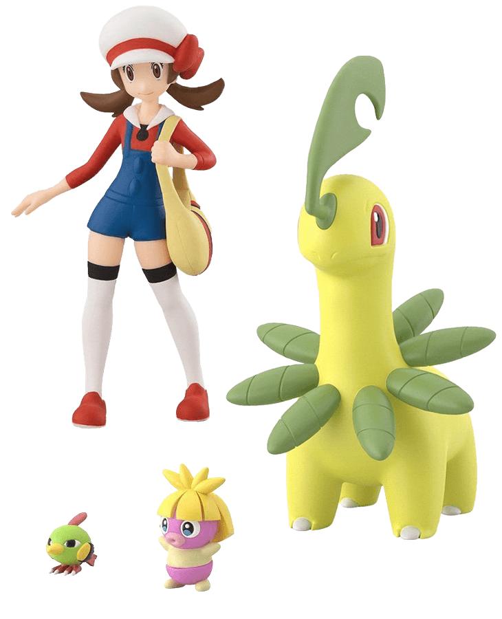 Pokemon Scale World Johto Region Lyra, Bayleef, Smoochum, and Natu set
