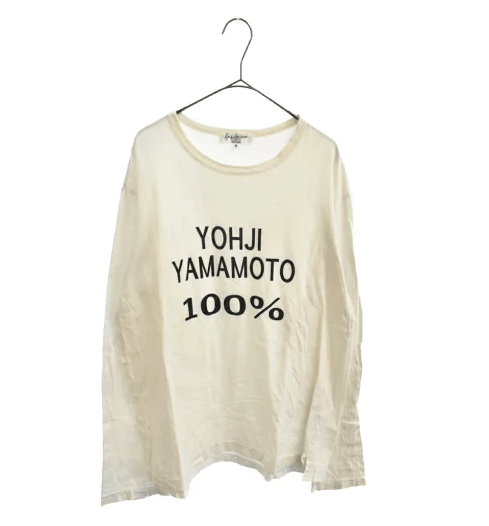 Yohji Yamamoto POUR HOMME Logo Text Print Crew Neck Long-sleeved T-shirt