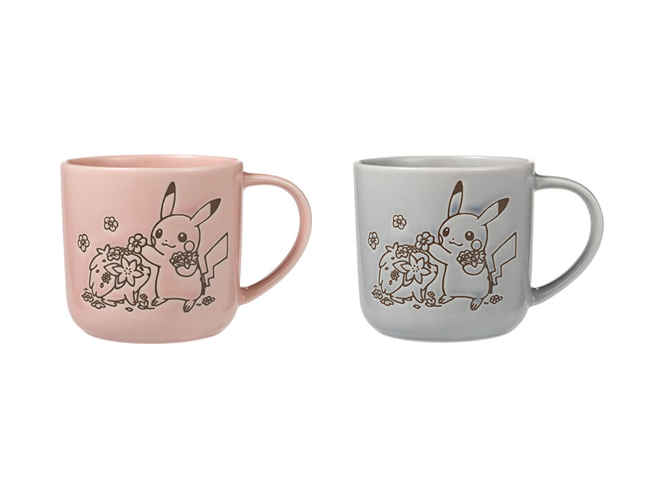 Lovely Flowers with Pikachu - Plate Small Size in Grey and Pink