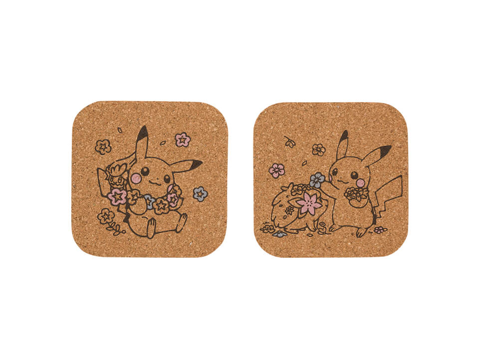 Lovely Flowers with Pikachu - Coaster Set