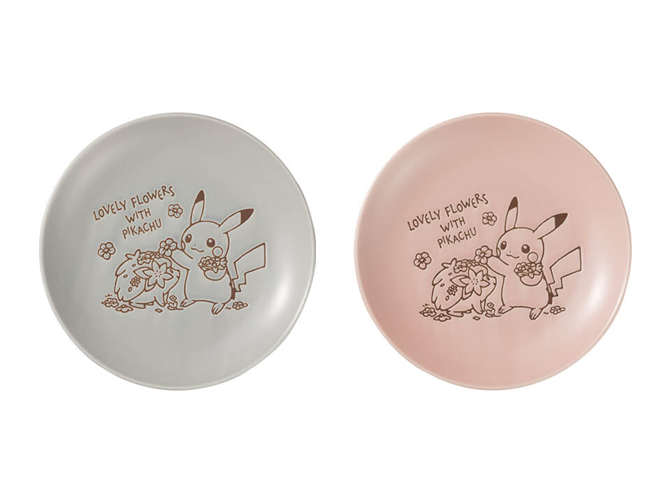 Lovely Flowers with Pikachu - Plate Medium Size in Grey and Pink